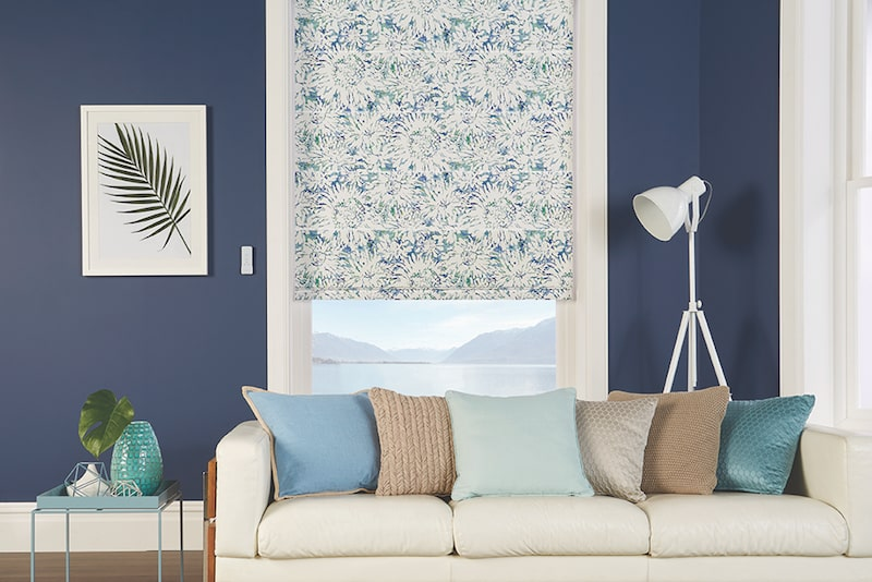 Merimbula Blind Shop roman blinds in blue pattern