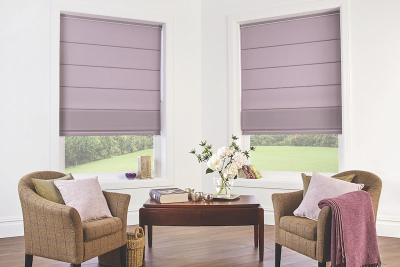 Blind Shop Merimbula - Roman blinds in grey purple